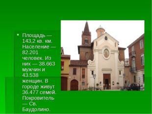 Площадь — 143,2 кв. км. Население — 82.201 человек. Из них — 38.663 мужчин и