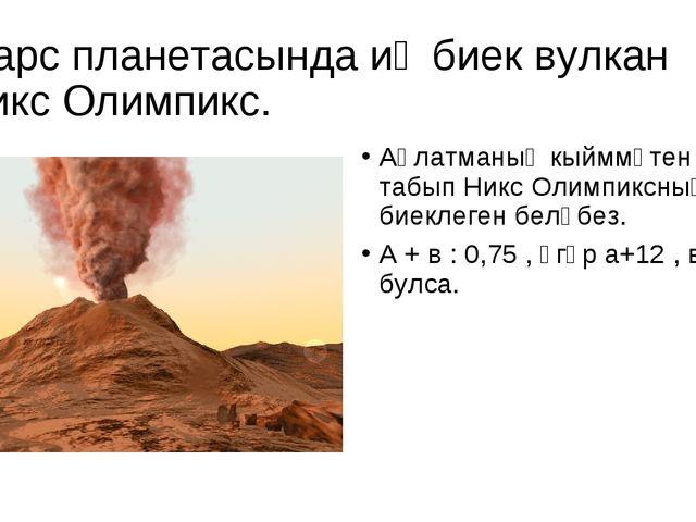 Марс планетасында иң биек вулкан Никс Олимпикс. Аңлатманың кыйммәтен табып Ни...