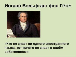 Иоганн Вольфганг фон Гёте: «Кто не знает ни одного иностранного языка, тот ни