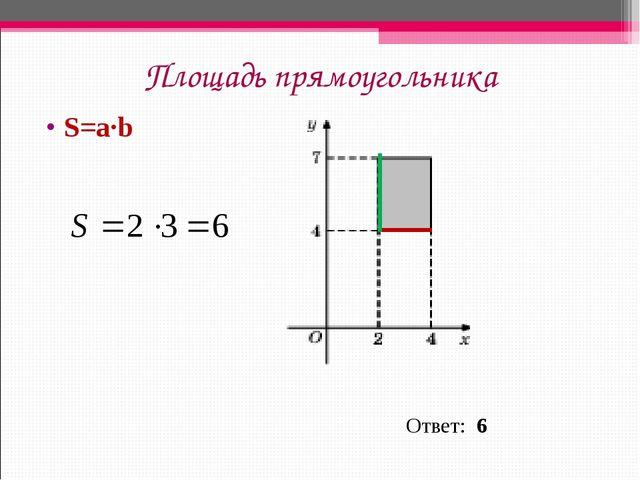 Площадь прямоугольника S=a∙b Ответ: 6