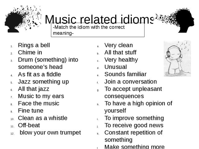 Music related idioms Rings a bell Chime in Drum (something) into someone's h...