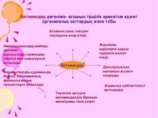Витаминдер дегеніміз- ағзаның тіршілік әрекетіне қажет органикалық заттардың