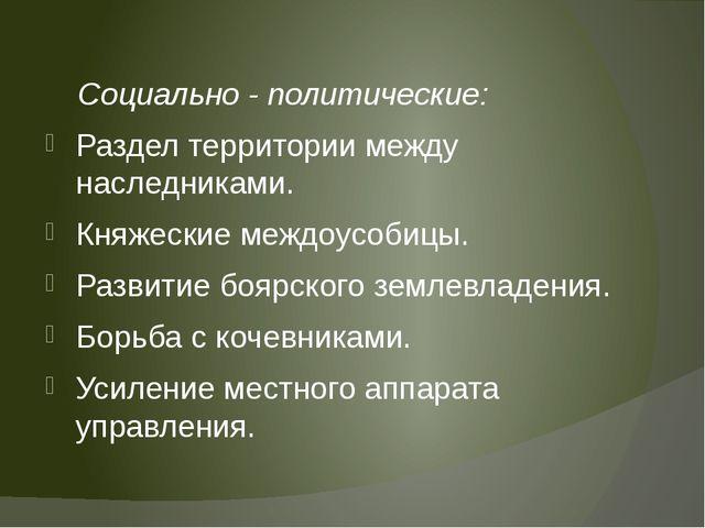 Социально - политические: Раздел территории между наследниками. Княжеские ме...