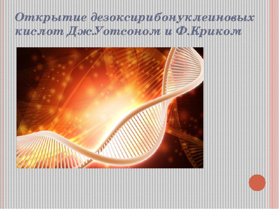 Открытие дезоксирибонуклеиновых кислот Дж.Уотсоном и Ф.Криком