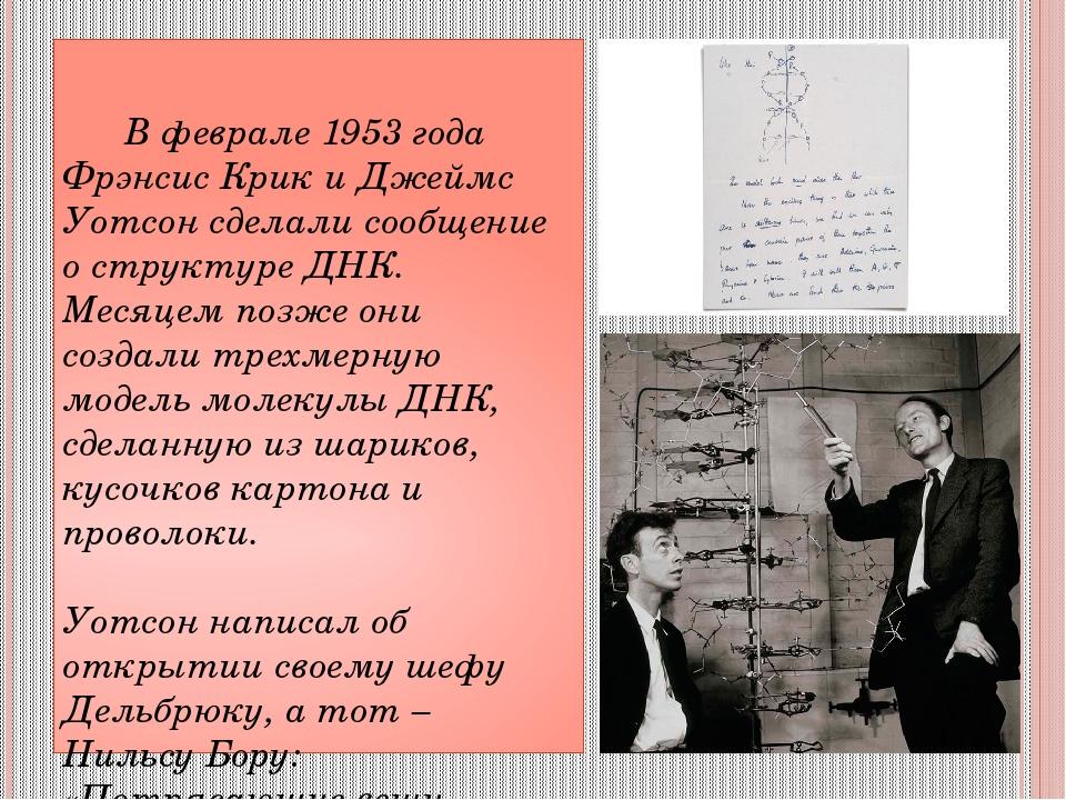 В феврале 1953 года Фрэнсис Крик и Джеймс Уотсон сделали сообщение о структу...