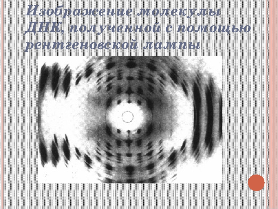 Изображение молекулы ДНК, полученной с помощью рентгеновской лампы