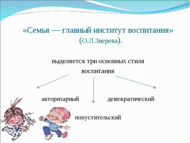 «Семья — главный институт воспитания» (О.Л.Зверева). выделяется три основных...