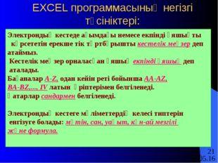 EXCEL программасының негізгі түсініктері: Электрондық кестеде ағымдағы немесе