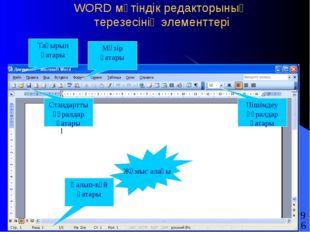 WORD мәтіндік редакторының терезесінің элементтері Тақырып қатары Мәзір қатар