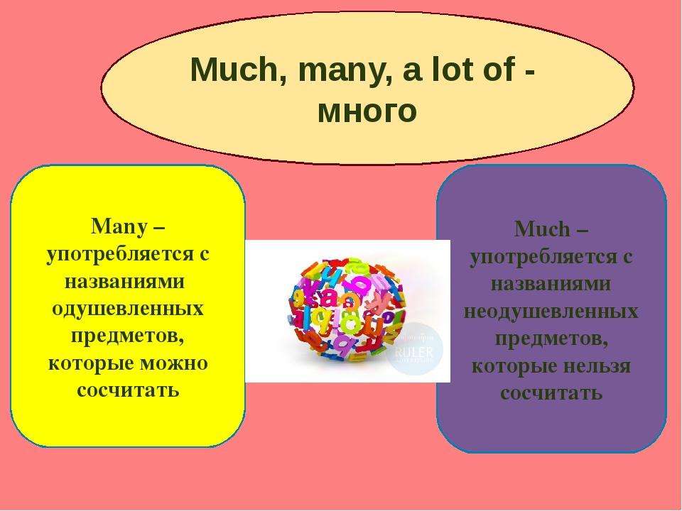 Much, many, a lot of - много Many –употребляется с названиями одушевленных п...