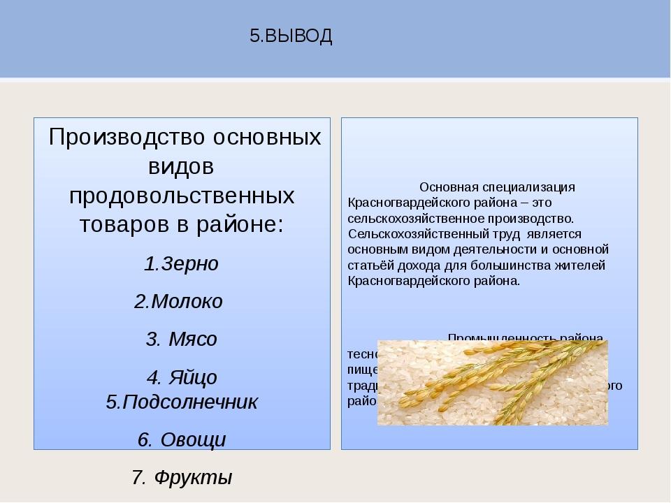 5.ВЫВОД Производство основных видов продовольственных товаров в районе: 1.Зер...