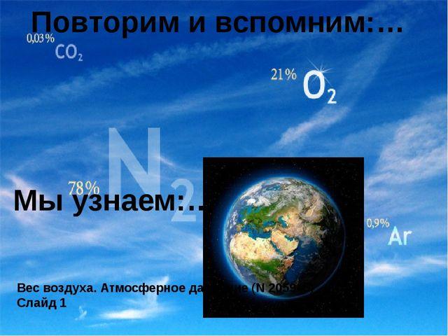 Вес воздуха. Атмосферное давление (N 205945) Слайд 1 Мы узнаем:… Повторим и в...