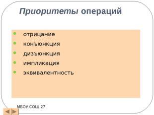 заполним наборы входных переменных МБОУ СОШ 27 А В С В С ВС BÚ(ВС) A(BÚВС