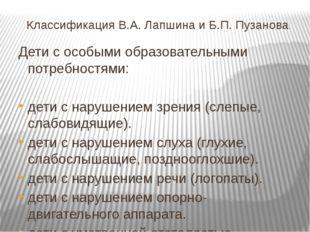 Классификация В.А. Лапшина и Б.П. Пузанова Дети с особыми образовательными по