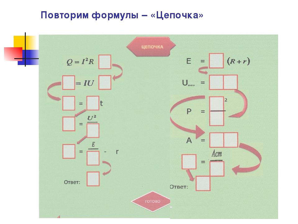 Повторим формулы – «Цепочка»