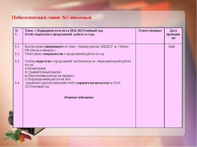 Педагогический совет №5 итоговый № 5.Тема: « Подведение итогов за 2016-2017у...