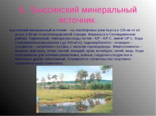 6. Быссинский минеральный источник. Быссинский минеральный источник – на лево