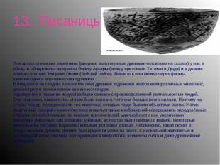 13. Писаницы Эти археологические памятники (рисунки, выполненные древним чело