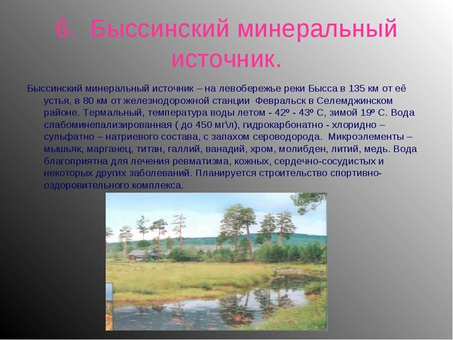 6. Быссинский минеральный источник. Быссинский минеральный источник – на лево...
