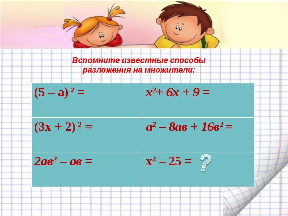 Вспомните известные способы разложения на множители: (5 – a) 2 =х2+ 6х + 9 =...