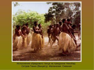 Исполнение обрядового танца на празднике Некойар. Остров Танно (Вануату). Мел
