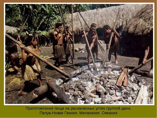 Приготовление пищи на раскаленных углях группой дани. Папуа-Новая Гвинея. Мел...