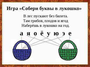 Игра «Собери буквы в лукошко» В лес пускают без билета. Там грибов, плодов и