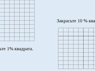 Закрасьте 1% квадрата. Закрасьте 10 % квадрата.