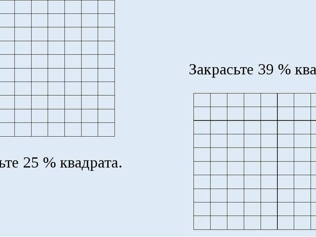 Закрасьте 25 % квадрата. Закрасьте 39 % квадрата.              ...