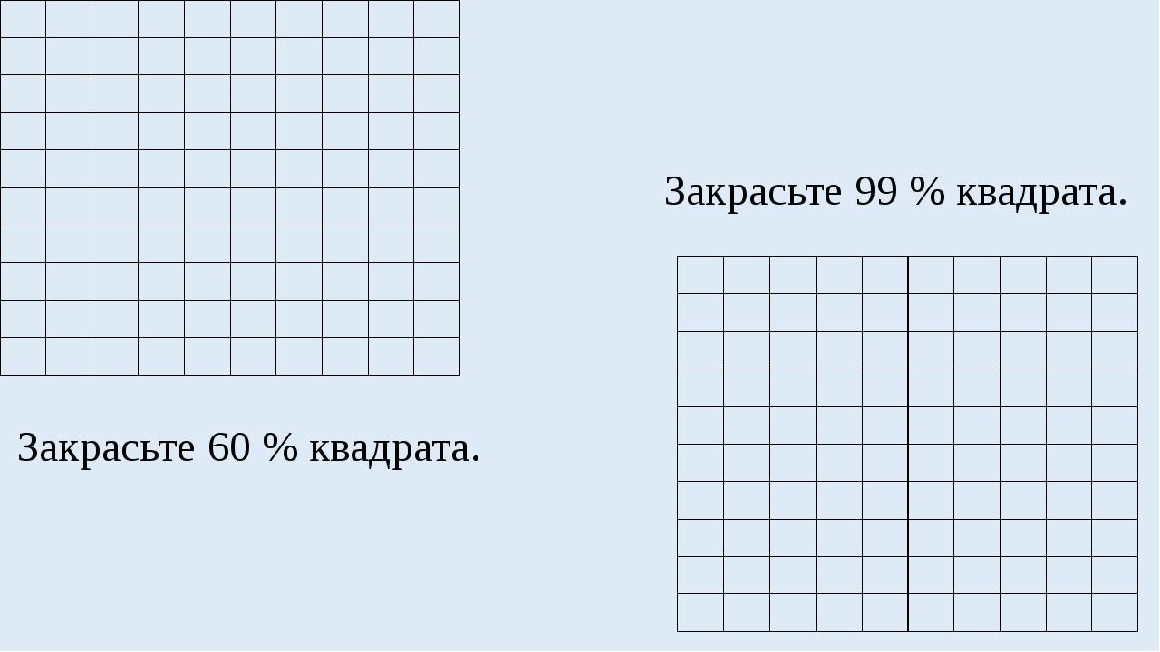Закрасьте 60 % квадрата. Закрасьте 99 % квадрата.              ...