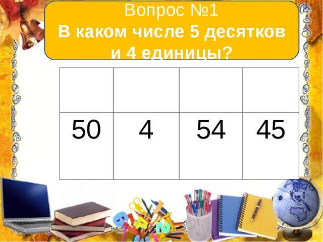 Вопрос №1 В каком числе 5 десятков и 4 единицы? А В С D 50 4 54 45
