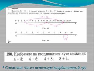 * Сложение чисел использую координатный луч