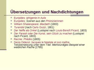 Übersetzungen und Nachdichtungen Euripides: Iphigenie in Aulis Euripides: Sc
