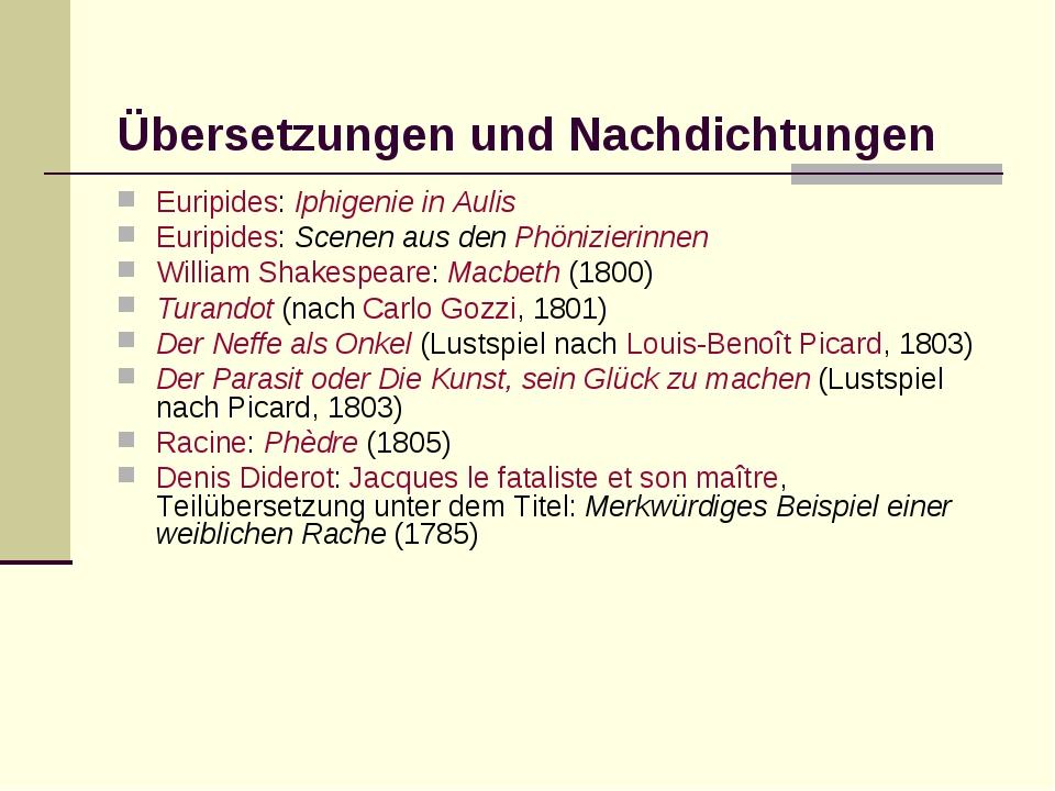 Übersetzungen und Nachdichtungen Euripides: Iphigenie in Aulis Euripides: Sc...