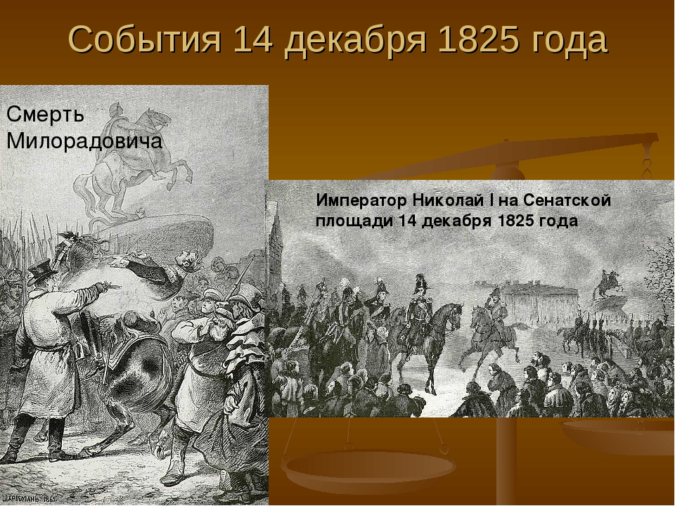 События 14 декабря 1825 года Смерть Милорадовича Император Николай I на Сенат...