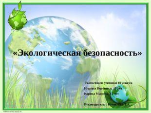 «Экологическая безопасность» Выполнили ученики 10 класса Ильина Вероника, 15