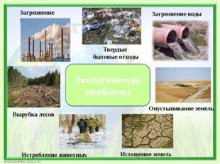 Экологические проблемы Истощение земель Вырубка лесов Загрязнение воздуха Тве