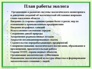 План работы эколога Организация и развитие системы экологического мониторинг
