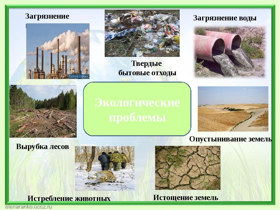 Экологические проблемы Истощение земель Вырубка лесов Загрязнение воздуха Тве...