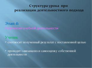 Этап 4: Рефлексия учебной деятельности Ученик соотносит полученный результат