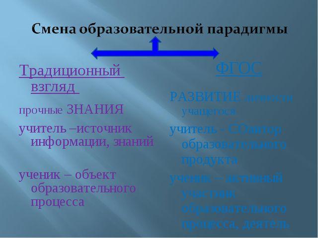 Традиционный взгляд прочные ЗНАНИЯ учитель –источник информации, знаний учени...