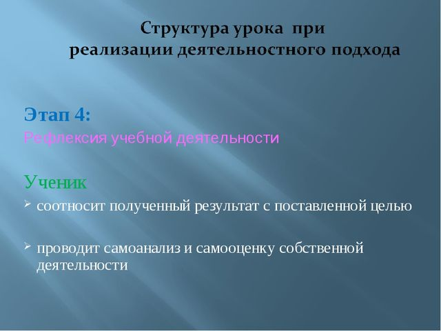 Этап 4: Рефлексия учебной деятельности Ученик соотносит полученный результат...