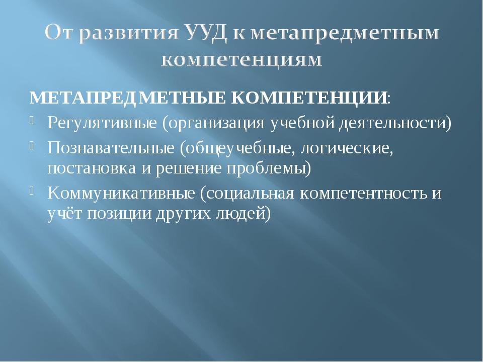 МЕТАПРЕДМЕТНЫЕ КОМПЕТЕНЦИИ: Регулятивные (организация учебной деятельности) П...