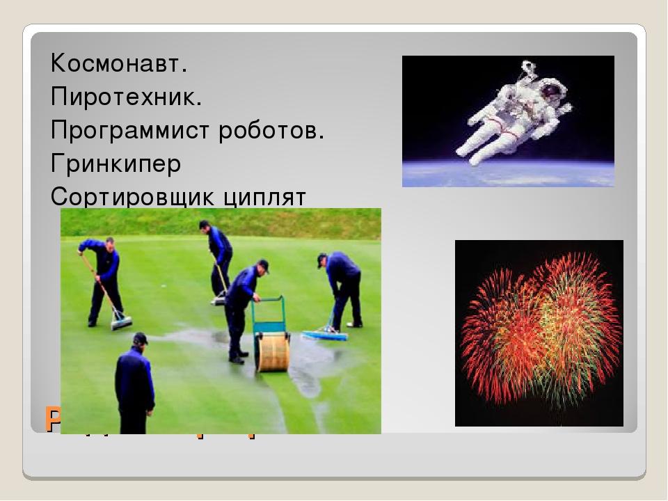 Редкие профессии Космонавт. Пиротехник. Программист роботов. Гринкипер Сортир...