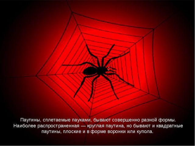 Паутины, сплетаемые пауками, бывают совершенно разной формы. Наиболее распрос...