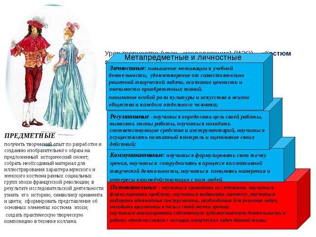 Урок творчества (урок - исследование) (ИЗО) «Костюм эпохи Великой французско...