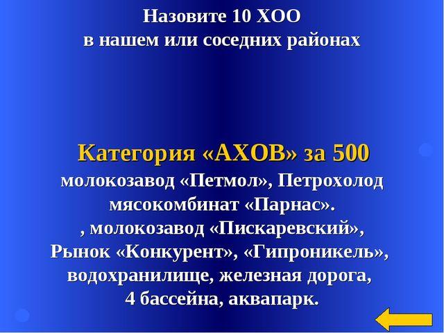 Назовите 10 ХОО в нашем или соседних районах молокозавод «Петмол», Петрохолод...
