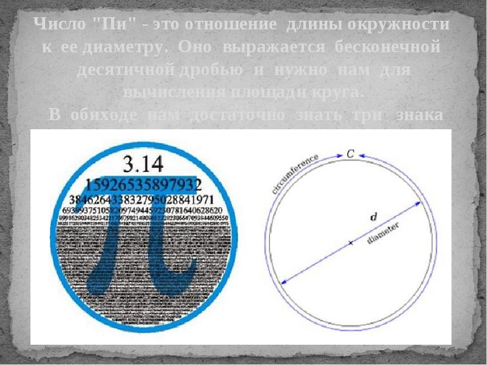 """Число """"Пи"""" - это отношение длины окружности к ее диаметру. Оно выражается бес..."""