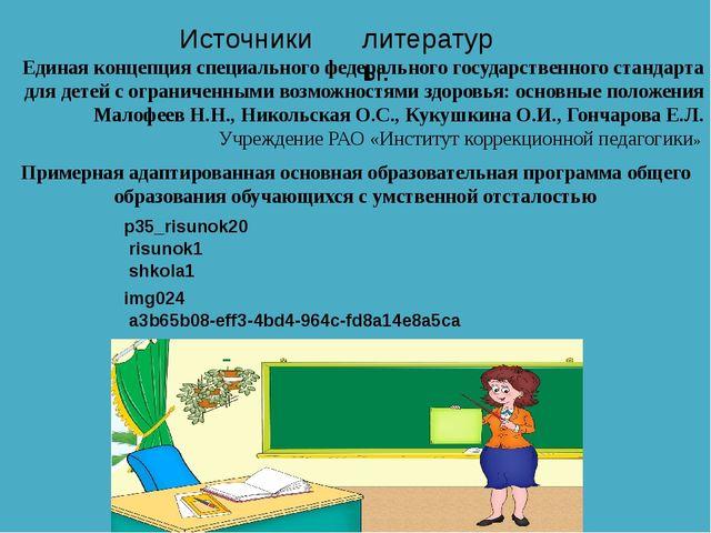Источники литературы. Единая концепция специального федерального государствен...