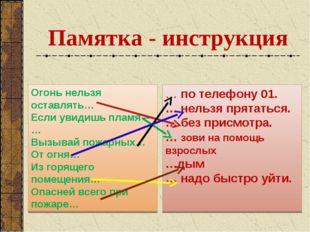 Памятка - инструкция Огонь нельзя оставлять… Если увидишь пламя –… Вызывай по